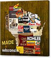 Made In Wisconsin Products Vintage Map On Wood Canvas Print