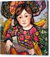 Madeline with flowers and birds Canvas Print
