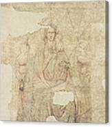 Madonna And Child Enthroned, Drawing For A Fresco Sinopia On Paper Canvas Print