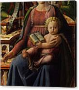 Madonna And Child Enthroned With Two Angels Canvas Print