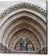 Madonna With Child On Matthias Church Tympanum Canvas Print