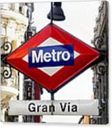 Madrid Metro Sign Canvas Print