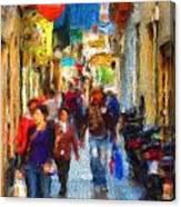 Madrid Shopping Spree Canvas Print