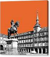 Madrid Skyline Plaza Mayor - Coral Canvas Print