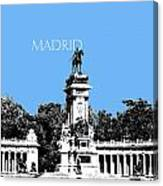 Madrid Skyline Retiro Park - Light Blue Canvas Print