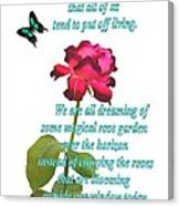 Magenta Red Rose With Butterfly And Quote Canvas Print