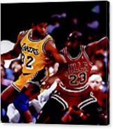 Magic And Jordan At Work Canvas Print