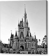 Magic Kingdom Castle In Black And White Canvas Print