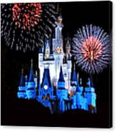 Magic Kingdom Castle In Blue With Fireworks Canvas Print