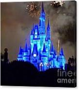 Magic Kingdom Castle In Deep Blue With Fireworks Canvas Print
