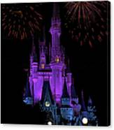 Magic Kingdom Castle In Purple With Fireworks 01 Canvas Print