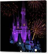 Magic Kingdom Castle In Purple With Fireworks 02 Canvas Print