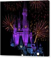 Magic Kingdom Castle In Purple With Fireworks 03 Canvas Print