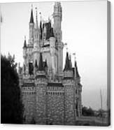 Magic Kingdom Castle Side View In Black And White Canvas Print