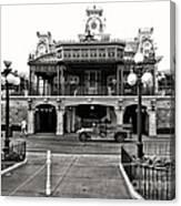 Magic Kingdom Train Station In Black And White Walt Disney World Canvas Print