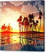 Magic Sunset In Clouds Canvas Print