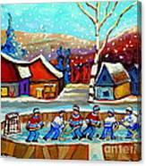 Magical Pond Hockey Memories Hockey Art Snow Falling Winter Fun Country Hockey Scenes  Spandau Art Canvas Print