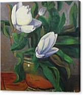 Magnolias On Brass Canvas Print