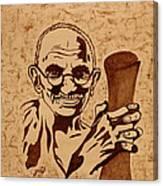 Mahatma Gandhi Coffee Painting Canvas Print