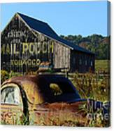 Mail Pouch Barn And Old Cars Canvas Print