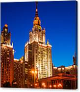 Main Building Of Moscow State University At Winter Evening - 4 Canvas Print