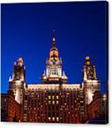 Main Building Of Moscow State University At Winter Evening - 5 Canvas Print