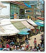 Main Street Marketplace In Tachilek-burma Canvas Print