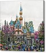 Main Street Sleeping Beauty Castle Disneyland 01 Canvas Print