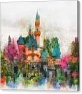 Main Street Sleeping Beauty Castle Disneyland Photo Art 01 Canvas Print