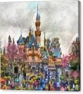 Main Street Sleeping Beauty Castle Disneyland Photo Art 02 Canvas Print
