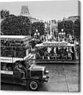 Main Street Transportation Disneyland Bw Canvas Print