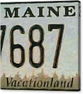 Maine License Plate Canvas Print