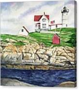 Maine Lighthouse Watercolor Canvas Print