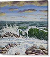 Crashing Waves At Pemaquid Point Maine Canvas Print