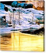 Maine Winter Along The Androscoggin River Canvas Print