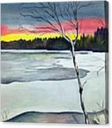 Maine Winter Sunset Canvas Print