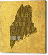 Maine Word Art State Map On Canvas Canvas Print