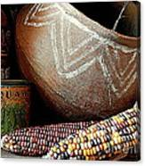 Pottery And Maize Indian Corn Still Life In New Orleans Louisiana Canvas Print
