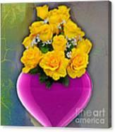 Majenta Heart Vase With Yellow Roses Canvas Print