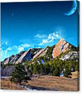 Majestic Flatirons Of Boulder Colorado With Big Moon Canvas Print