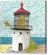 Makapuu Lighthouse Oahu Hi Nautical Chart Map Art Canvas Print