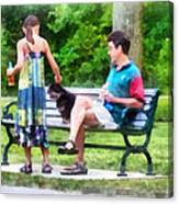 Making A New Friend In The Park Canvas Print