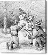 Making A Snowman Canvas Print