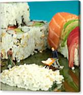 Making Sushi Little People On Food Canvas Print