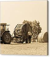 Farm - Tractor - Hay - Making The Drop Canvas Print