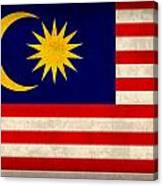 Malaysia Flag Vintage Distressed Finish Canvas Print