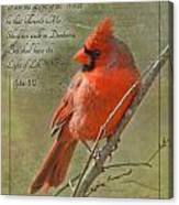 Male Cardinal On Twigs With Bible Verse Canvas Print