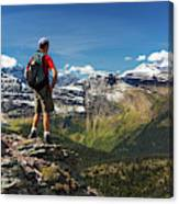 Male Hiker Standing On Top Of Mountain Canvas Print
