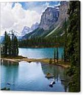Maligne Lake And Spirit Island Canvas Print