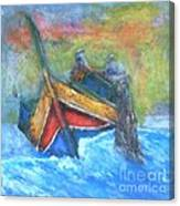 Maltese Fishermen Casting Nets Outside Marsalforn Malta Canvas Print
